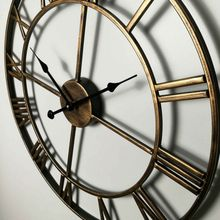 European Roman Hollow Out Iron Clock Large Wall Clocks Vintage Home Decorative