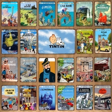 Adventures of Tintin Metal  Sign  Vintage Style  Cafe Wall Home Art  Kids Room Decoration  Unique Gift  DU-6238A