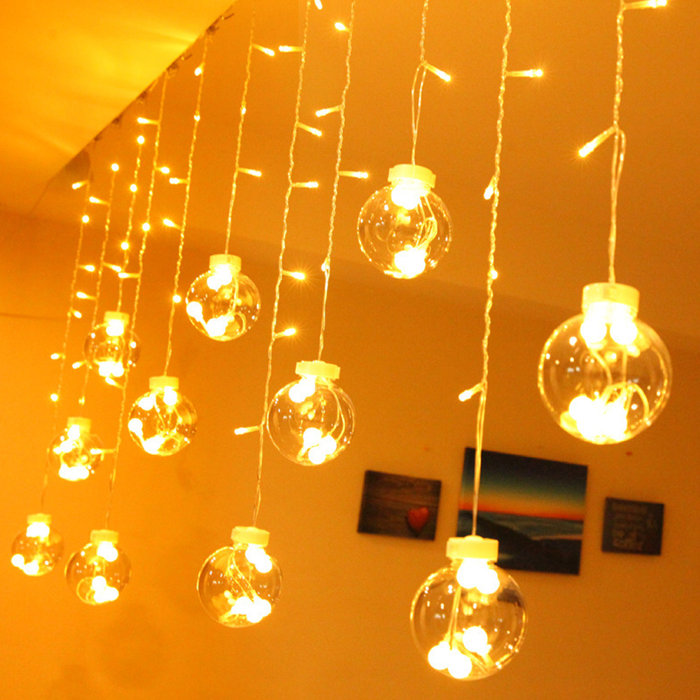 LED String Lights 8 Modes LED Glass Globe Ball Curtain Pendant Lamps For Home Party Christmas Decoration USB/EU Plug/Remote