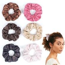 Женские однотонные винтажные кожаные блестящие резинки для волос, большие цветные эластичные резинки для волос, аксессуары для волос