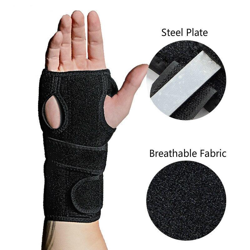 1 pçs suporte de pulso ajustável túnel carpal splint aço placa pulso cinta envoltório pulseira entorse alívio da dor mão protetor