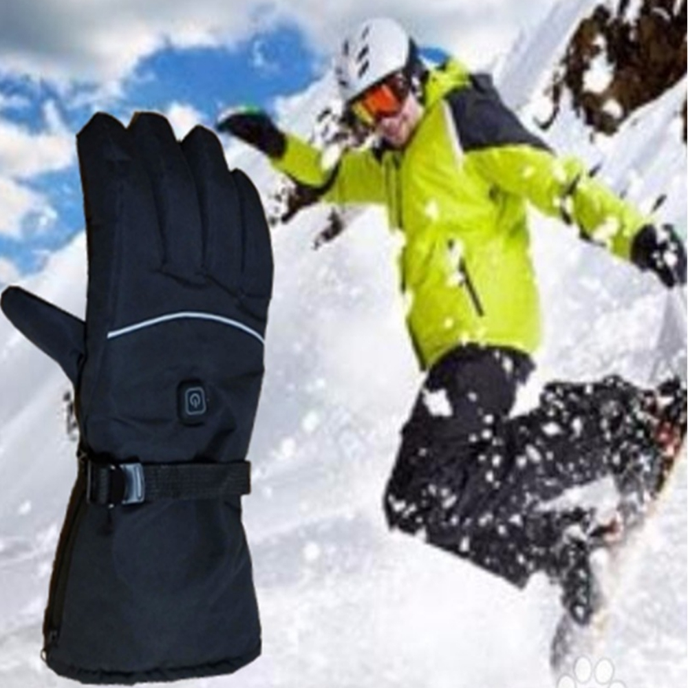 1Pair Winter USB Hand Warmer Electric Thermal Heating Heated Gloves Battery Powered For Men And Women Motorcycle Ski Gloves