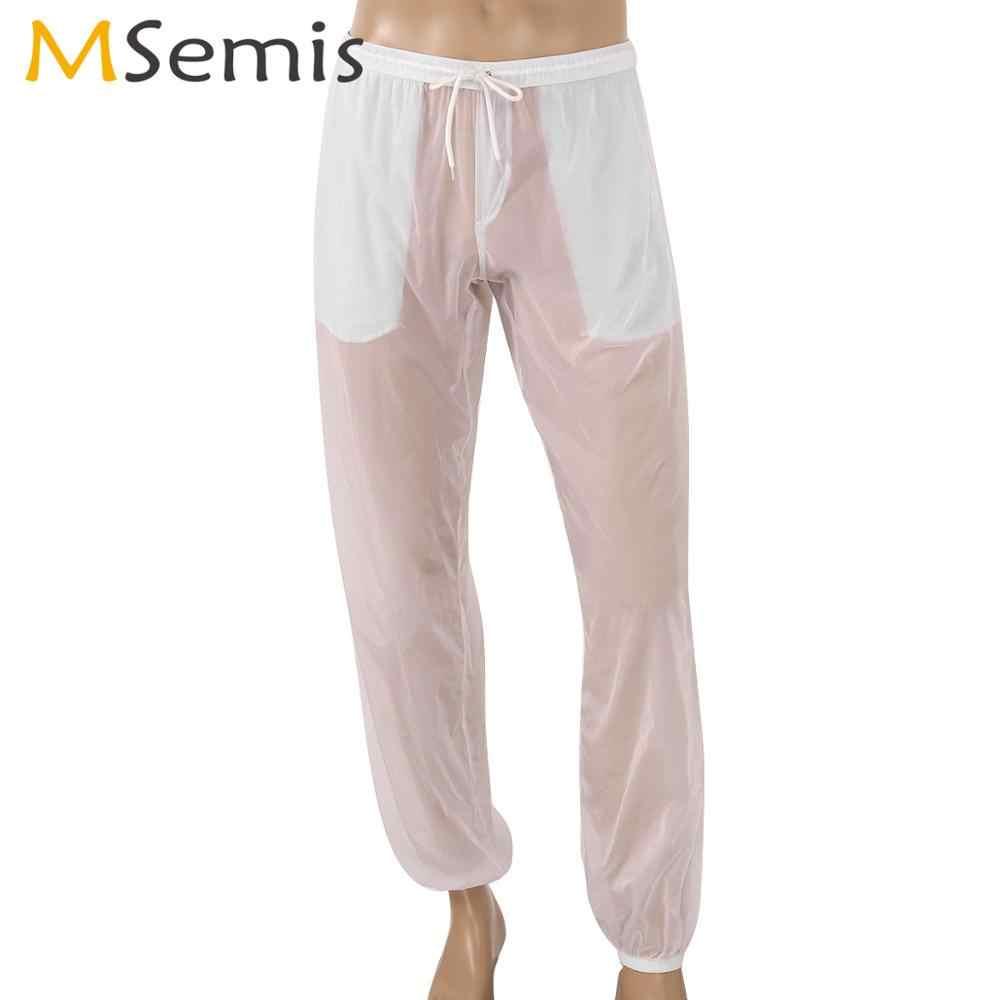 Pantalones Largos Ultrafinos Para Hombre Ropa De Playa Sexy De Cintura Baja Transparente Para Fetiche Gay Mallas Holgadas Con Cordon De Verano Pantalones Aliexpress