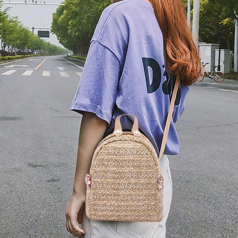 Fashion Straw Pearl Backpack Women Girls Travel Casual Shoulder Schoolbags