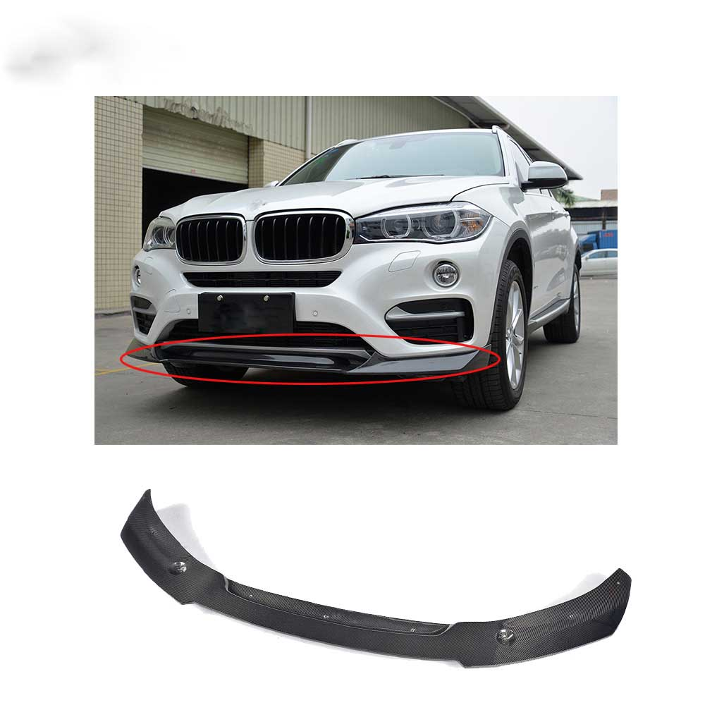 Carbon Fiber Front Bumper Lip För BMW X6 Standard Bumper 2015-2016 Front splitter Lip Spoiler Kit Car Tuning Parts