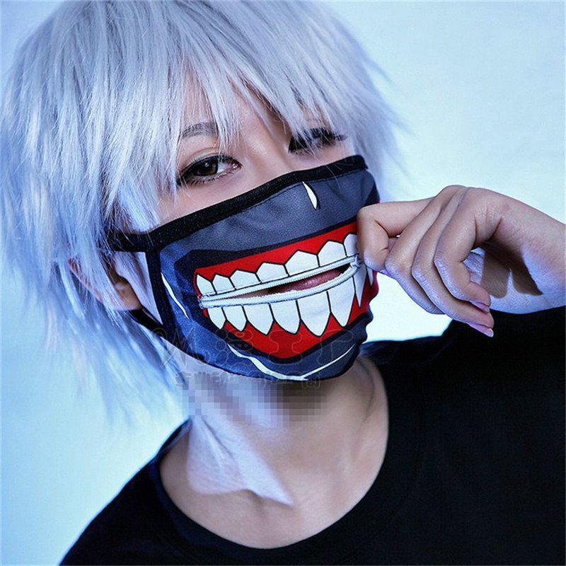 New Adults Halloween Cosplay Kaneki Ken Face Masks Zipper Cycling Anti-Dust Anime Tokyo Ghoul Cosplay Party Mask