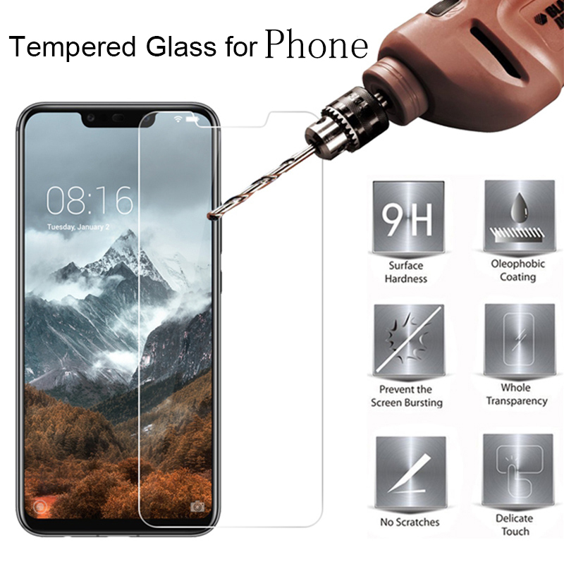 2PCS For ZTE A530 Glass Tempered Glass ZTE Blade A530 A606 Screen Protector Protective Film ZTE A7 2019 LCD Mobile Phone Cover