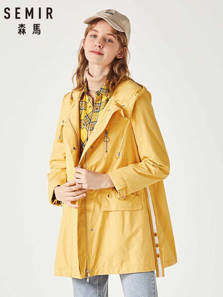 SEMIR Hooded Mid-length Trench Coat Women 2019 New Winter Korean Version Hong-Kong Style Cotton Loose Coat Trench