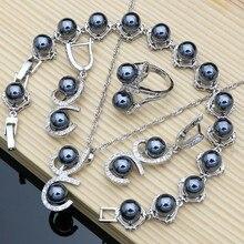 Parure de bijoux pour femmes, perles noires, argent 925, boucles d'oreilles, colliers, bagues, cadeaux d'anniversaire, pour fête de mariage, Bracelet à breloques