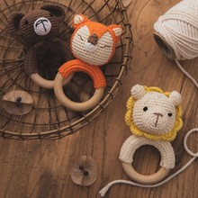 Baby Bijtring Bpa Gratis Gehaakte Rammelaar Speelgoed Houten Beuken Ring Baby Mobiele Gym Verpleging Fopspeen Molaire Educatief Speelgoed Baby Product