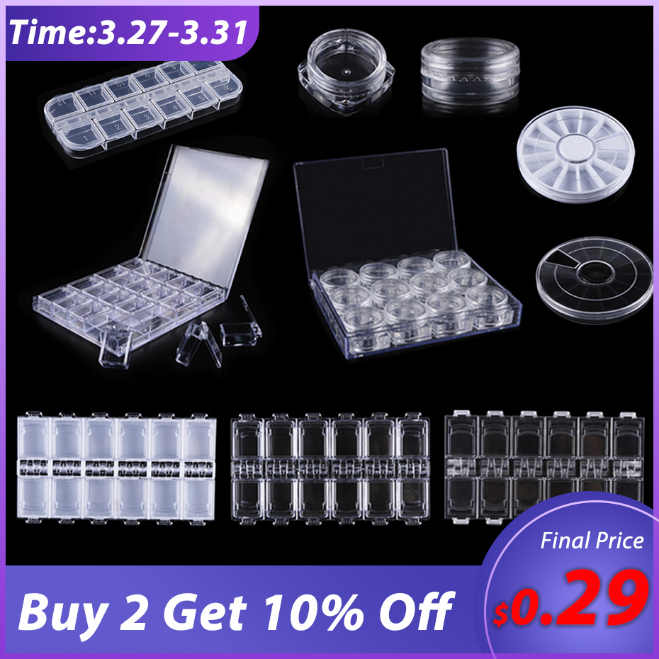 1pc Transparent Nail Art Empty Storage Case Box Nail Glitter Rhinestone Crystal Bead Display Accessories Plastic Container BE538