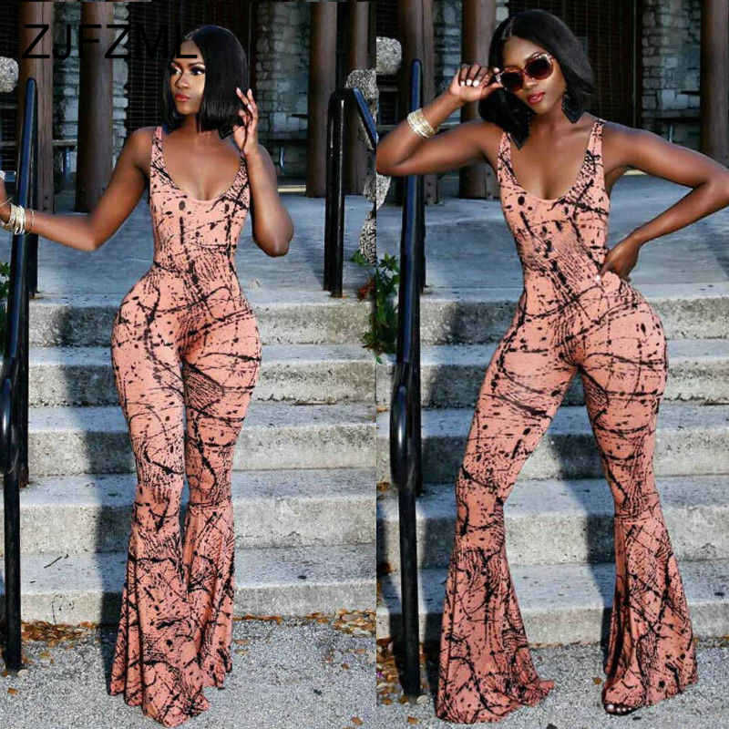 Sexy Club Printed Flare Jumpsuit Women Backless Plus Size One Piece Bodysuit Elegant Summer Sleeveless Skinny Party Overalls