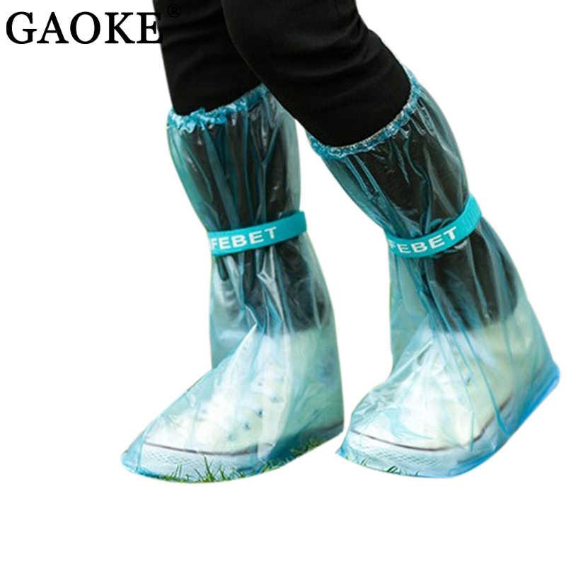 يمكن إعادة استخدامها غطاء أحذية المطر النساء/الرجال/أطفال الأطفال رشاقته أحذية برقبة طويلة مقاومة للماء دورة المطر شقة زلة مقاومة الجرم