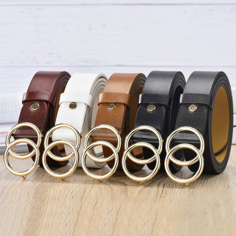 fashion circular buttons Ladies belts womens belts leather belts
