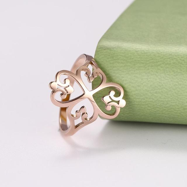 Lemegeton fleur trèfle creux filigrane anneaux 316L acier inoxydable bague femmes fille fête/anneaux de mariage bijoux