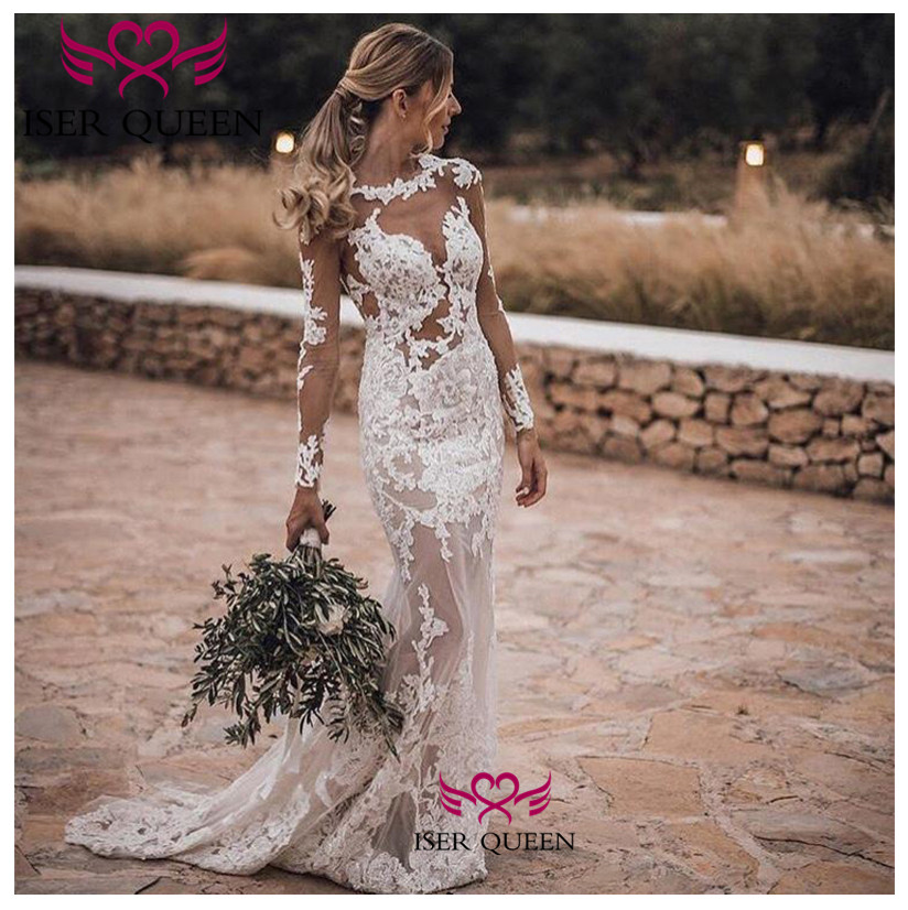 See-through Long Sleeves Embroidered Lace On Net Mermaid Wedding Gown Backless Spanish Stylish Pure White свадебное платье W0645