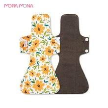 Pad Washable Mora Mona Sanitary-Napkin Bamboo-Charcoal Menstrual-Period 5-Pcs Nursing-Pad