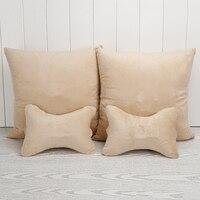 4pcs/set 2 in 1 Multifunction Car Cushion Headrest Pillow Air Conditioning Cushion Blanket Foldable Car Plush Pillow Quilt
