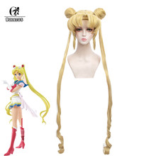 ROLECOS Anime marin lune éternel Cosplay marin lune Cosplay perruques 105cm de Long Double queue de cheval jaune cheveux synthétiques + bonnet de perruque(China)