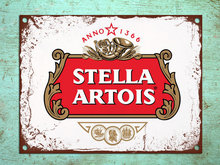 Sinais de metal de alta qualidade estilo retro stella artois bar cerveja den parede estanho placas
