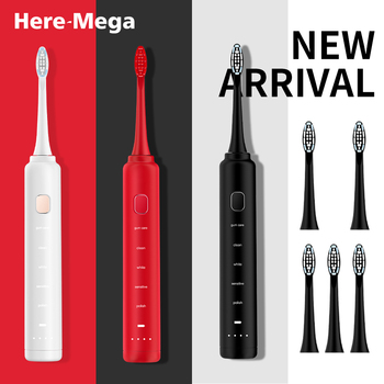 HERE MEGA Ultrasonic Sonic Electric Toothbrush USB Rechargeable Tooth Brushes IPX8 Waterproof with 3 Pcs Replacement Brush Heads here mega ultrasonic sonic electric toothbrush usb rechargeable tooth brushes ipx8 waterproof with 3 pcs replacement brush heads