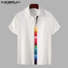 Fashion Men Shirt Blouse Button Short-Sleeve Patchwork Streetwear INCERUN Summer Lapel