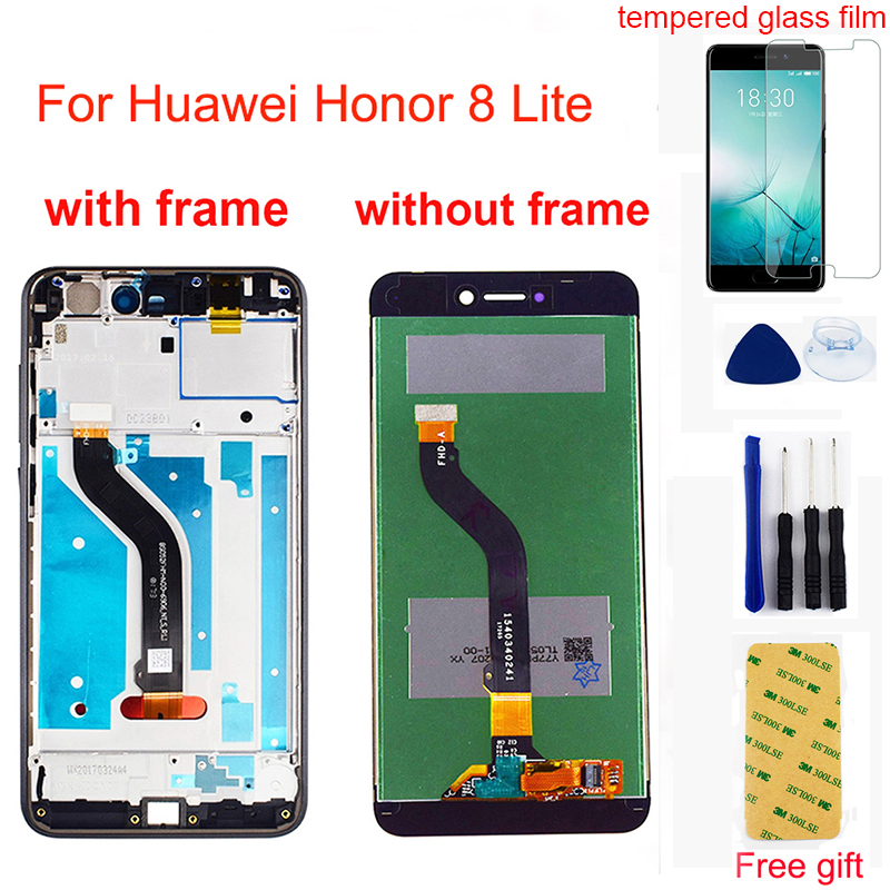 For <font><b>Huawei</b></font> <font><b>Honor</b></font> <font><b>8</b></font> <font><b>Lite</b></font> LCD <font><b>Display</b></font> Touch Screen Assembly For <font><b>Honor</b></font> <font><b>8</b></font> <font><b>Lite</b></font> <font><b>PRA</b></font>-<font><b>TL10</b></font> <font><b>PRA</b></font> LX1 LX3 LCD Screen Frame Replacement image