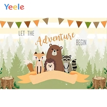 Yeele Newborn Baby Shower Animal Backdrop Bear Forest  Jungle Kids Birthday Photography Background Vinyl For Photo Studio