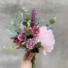 Mix flower Bouquet Artificial  Flowers bridal bouquet wedding Home Party Travel ornaments