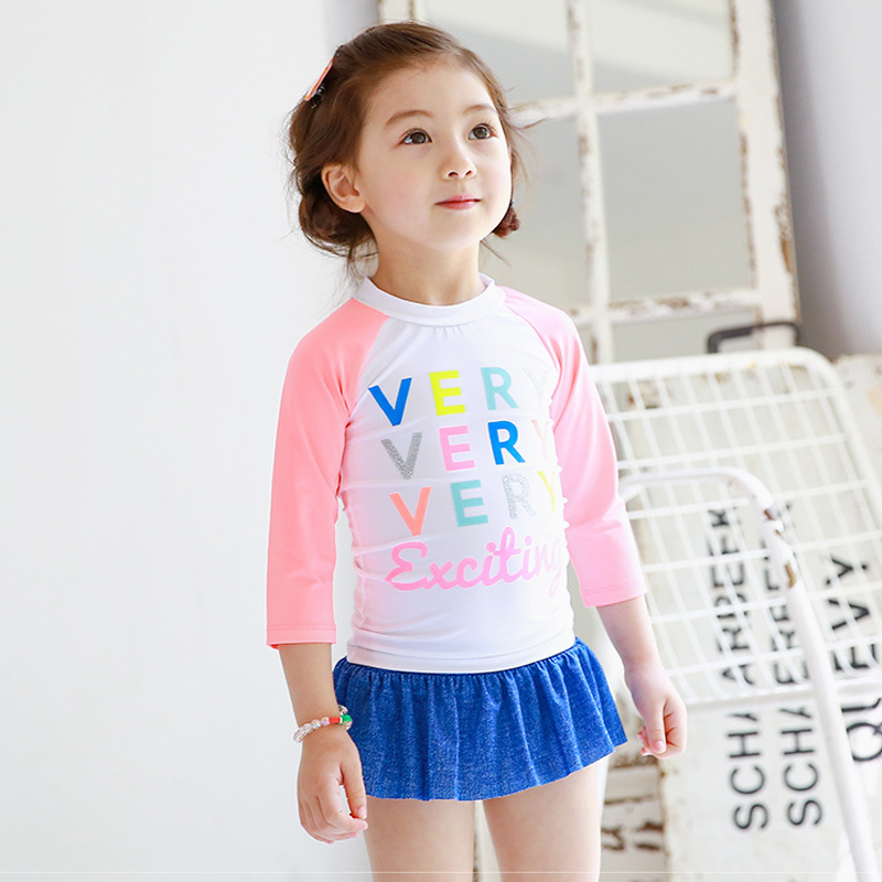 Place Of Origin Supply Of Goods 2017 South Korea Haiyishan KID'S Swimwear Long Sleeve Sun-resistant Two-piece Swimsuits Lettered