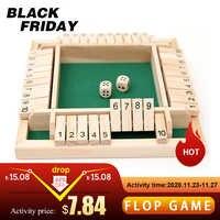 Juego de mesa de dados con caja, juego de dados de madera, 4 lados, 10 números, suministros para fiestas