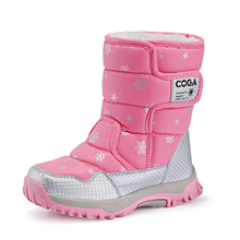 Сапоги детские зимние до середины икры, утепленные плюшевые ботинки с мехом, Повседневная легкая водонепроницаемая обувь для девочек и мальчиков, 2020