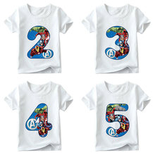 Kids Boys Girls Super Hero Avengers T Shirt Baby Cartoon T-shirt Size 1 2 3 4 5 6 7 8 9 Birthday Present Children Clothing Tees(China)