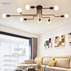 Image 4 - בציר תליון אורות מרובה מוט תליון מנורות ברזל יצוק תקרת מנורת E27 הנורה Lamparas לבית גופי תאורה