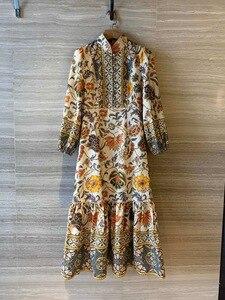 2020 principios de primavera nuevo modelo de alta gama de moda Vintage impreso algodón y lino cola de pez vestido tamaño S M L envío gratis a todo el mundo