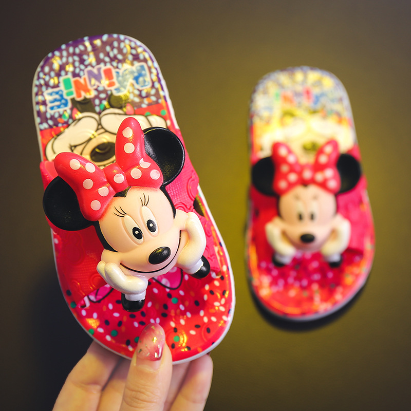 New Kids Slippers Summer Children Cartoon Lovely Minnie Sandal Baby Flip Flops Boys Girl Slippers Toddler Antiskid Beach Shoes