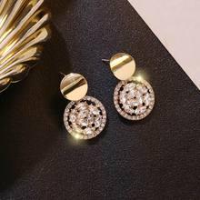 цена на Fashion Round Rhinestone Drop Earrings For Women 2019 New Delicate Earings Jewelry Bijoux