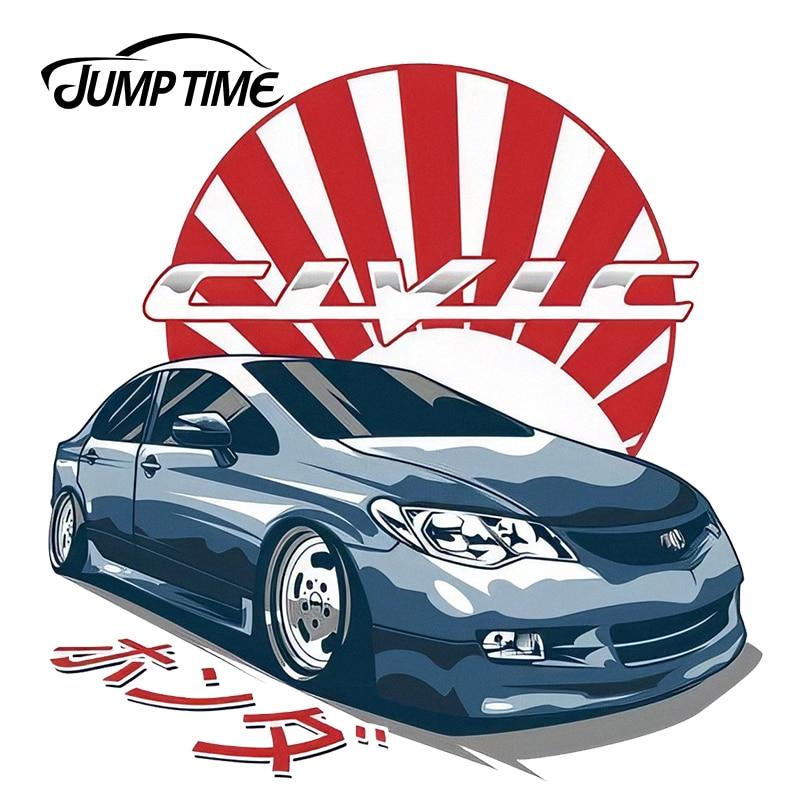 JumpTime 13cm X 12.8cm For Honda Civic FD JDM Japanese Vinyl Sticker Car Stickers Waterproof Accessories Car Bumper Window Decal