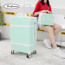 Suitcase-Wheels Trunk Rolling-Luggage-Set Travel-Bag Password-Trolley Retro Cute Spinner