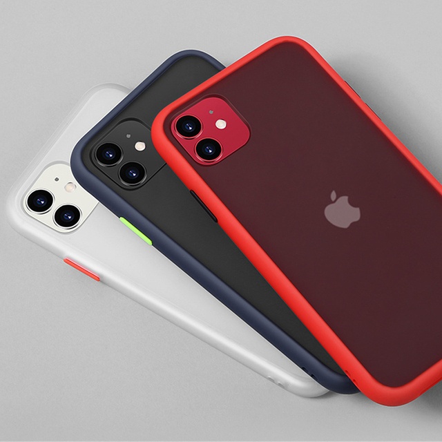 Mint Simple Matte Bumper Phone Case for iphone 11 Pro XR X XS Max 12 6S 6 8 7 Plus Shockproof Soft TPU Silicone Clear Case Cover 2