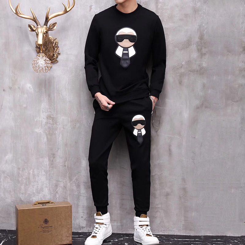 Seestern Brand 2019 Beading Old Buddha Autumn Winter Fashion New Long Sleeve Hoodie And Pants 2 Piece Suit Men Set Sportswear