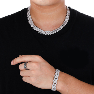 Hip Hop 12MM CZ Heavy Cuban Prong Bracelet Necklaces Box Buckle Iced Out Zircon Choker Chains For Men Jewelry With Solid Back