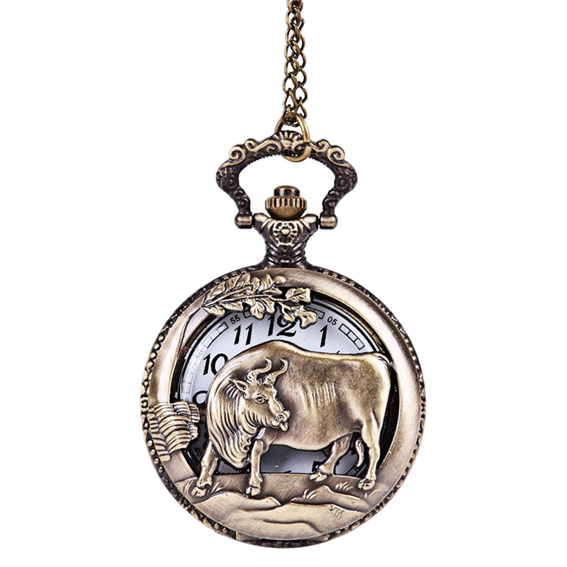 Zodiac Cattle Embossed Hollow Ancient Pocket Watch Bronze Large 12 Zodiac Cattle Classical Pocket Watch