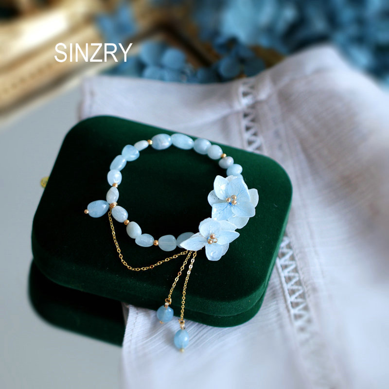 Sinzry original artesanal flor real natural pedra borla charme pulseiras senhora elegante moda jóias acessório