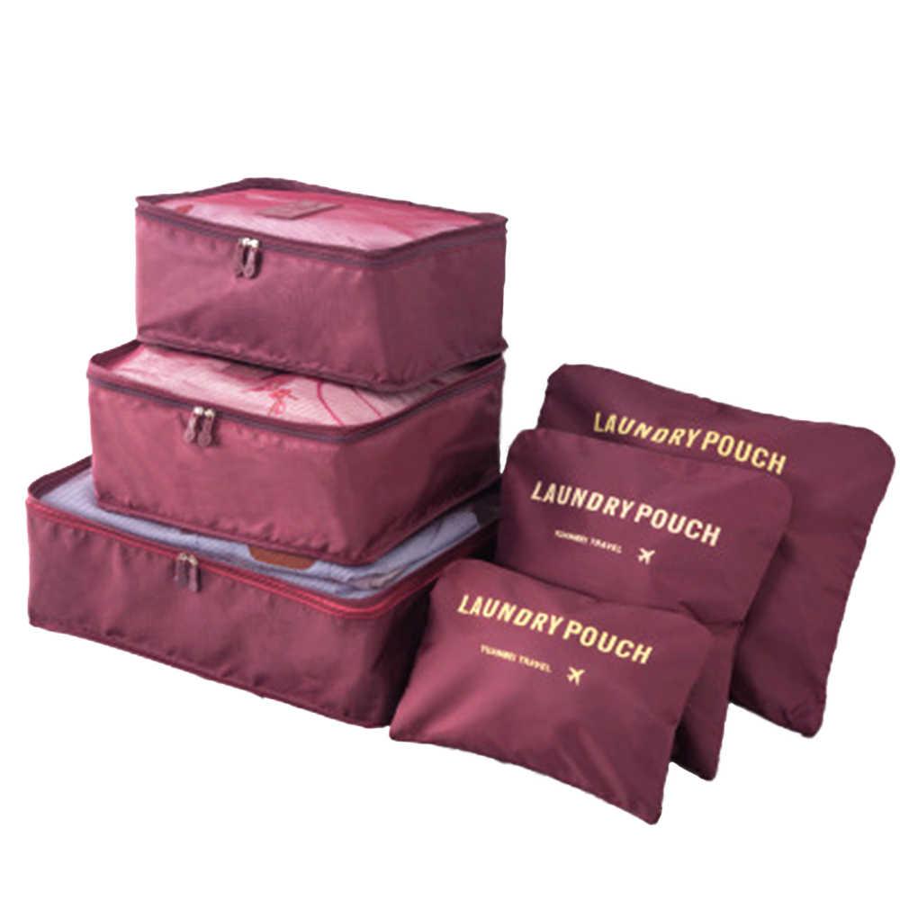 Juego de 6 uds de bolsas organizadoras para equipaje de viaje, conjunto de bolsas de compresión, cubos de embalaje, malla de viaje, gran capacidad, organizador para almacenamiento de maletas