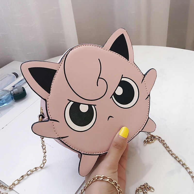 Anime bolso monstro jigglypuff mochila carteira menina kawaii bolsa de couro das mulheres dos desenhos animados harajuku bolsa de ombro