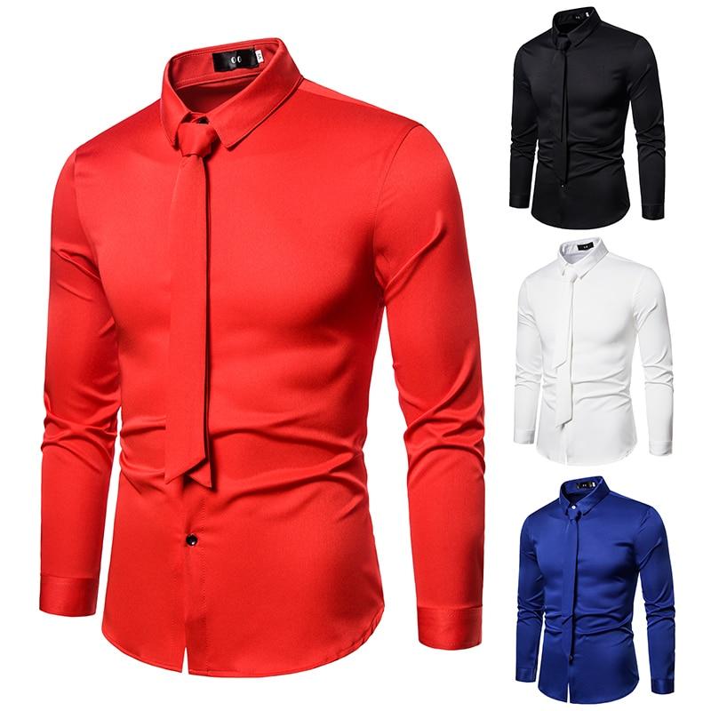 Fashion Red Shirts Men Long Sleeve Hairdresser Nightclub Bar Mens Slim Fit Stylist Satin Shirt With Tie Men's Large Size S-5xl