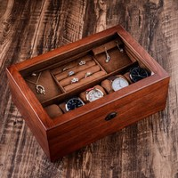 High Grade Vintage Wood Jewelry Box Necklace Ring Bracelet Jewelry Storage Box Double Layer with Lock Yellow Interior