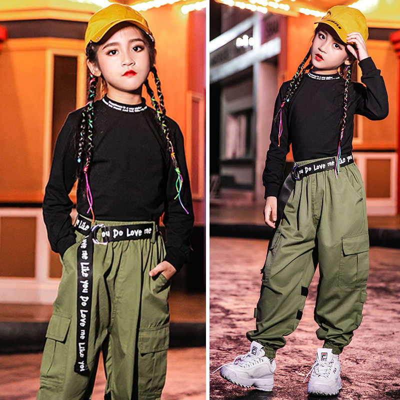 Hip Hop Kids 2019 Dans Kostuum Pak Hip Hop Overalls kinderen Jazz Dans Kostuum School Stage Performance Street Wear VDB960