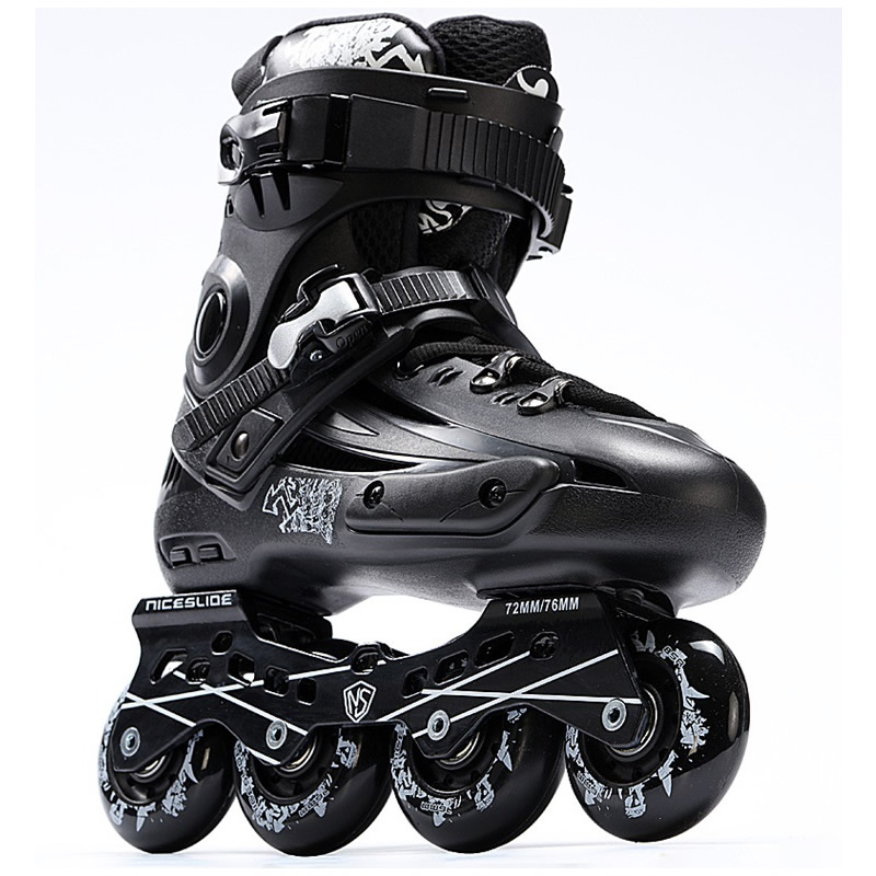 New Arrival Inline Roller Skates Breathable Professional Skating Shoe Adult Flash Wheel Black Sneaker Size 35-44